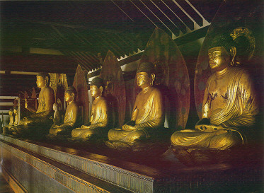The Nine Amida Buddha images of Joruriji Temple